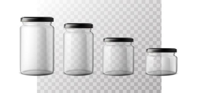 플라스틱 뚜껑이 있는 다양한 크기의 유리병 세트