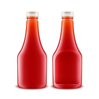 ガラスプラスチック赤いトマトケチャップボトルのセット
