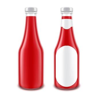 ラベルなしガラス赤ケチャップボトルのセット