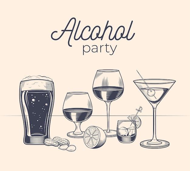 빈티지 스타일의 알코올 음료와 유리 세트