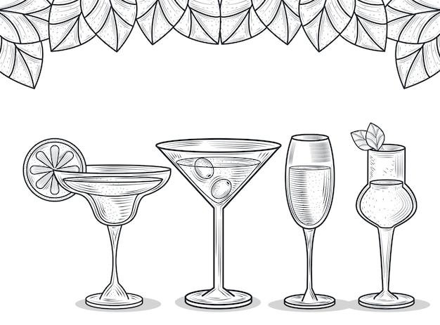 カクテルとアルコール飲料、細い線スタイルのアイコンとガラスのセット