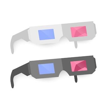 メガネ、黒と白の色、白で隔離のアイコンのセット。図。フラットシンプル。シネマ映画映画鑑賞デザイン要素。