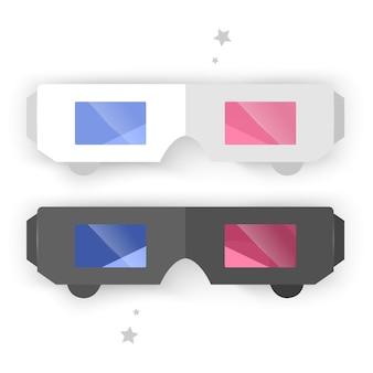 メガネ、黒と白の色、白で隔離のアイコンのセット。図。フラットシンプルなアイコン。シネマ映画映画鑑賞デザイン要素。