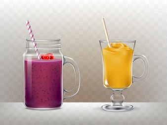 Set of glasses, cups for smoothies