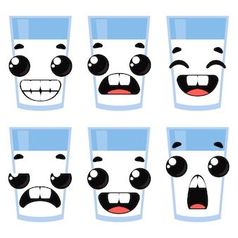 Набор стаканов молока и эмоций. векторные иллюстрации в мультяшном стиле