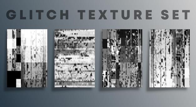 バナー、チラシ、ポスター、表紙のパンフレット、およびその他の背景のグリッチテクスチャテンプレートのセット。ベクトルイラスト。