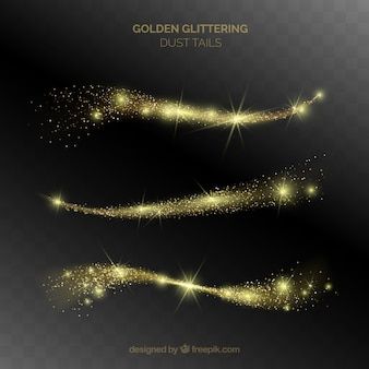 Set of glittering dust tails in golden style