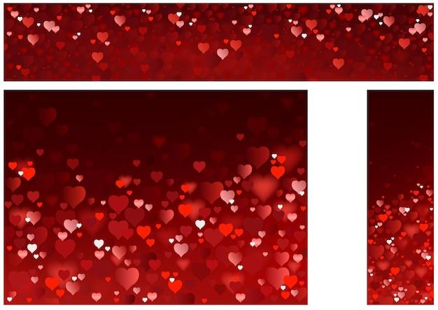 Набор баннеров сайта сверкающих красных сердец