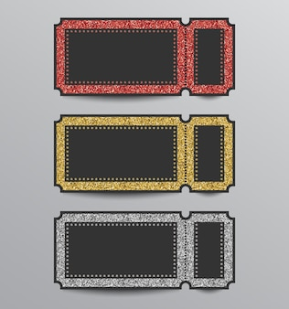 赤、金、銀色のきらびやかなスタブチケットテンプレートのセット。