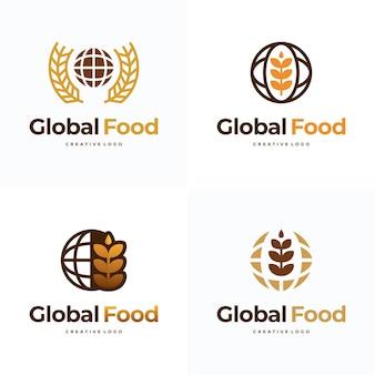 글로벌 식품 로고 디자인 템플릿 벡터, 상징, 디자인 컨셉, 기호 아이콘 세트