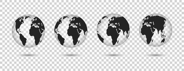 글로브 지구 집합입니다. 다른 변형의 지구.