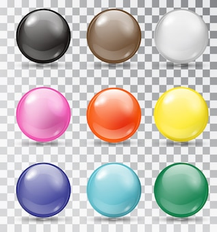 Набор глянцевых шариков на прозрачном