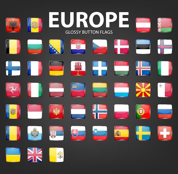 光沢のあるボタンフラグのセット-ヨーロッパ。