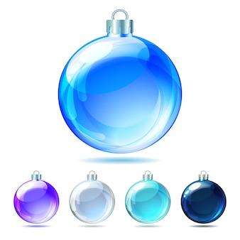 白い背景の上の光沢のあるクリスマスボールのセットです。図。