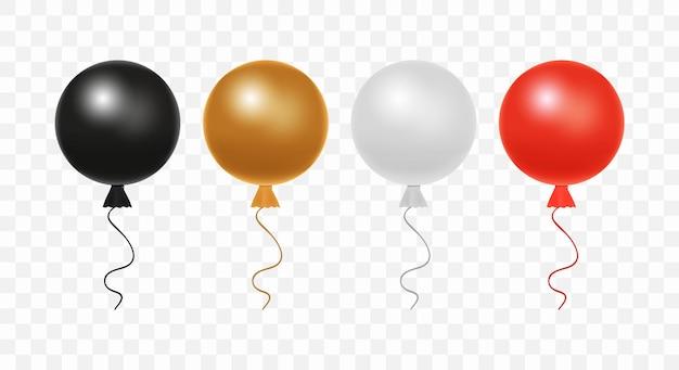 透明な背景に分離された光沢のあるリアルなカラフルな風船のセットです。誕生日、休日のイベント、パーティー、結婚式のためのカラフルでリアルなヘリウム気球:黒、茶色、灰色、赤の色。
