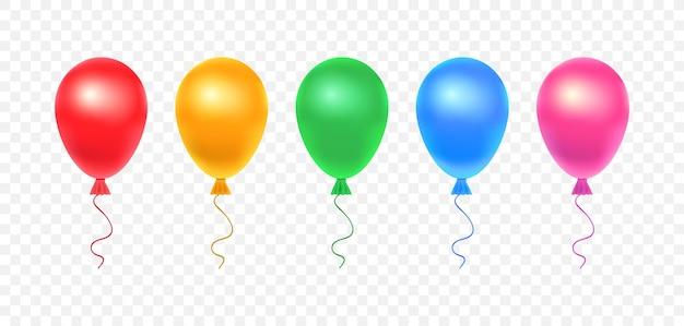 透明な背景に分離された光沢のあるリアルなカラフルな風船のセットです。誕生日、休日のイベント、パーティー、結婚式のためのカラフルでリアルなヘリウム気球:赤、黄、緑、青、ピンク。