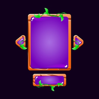 Набор глянцевых деревянных листьев, всплывающая доска пользовательского интерфейса для элементов графического интерфейса