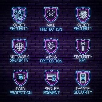グローネオンコンピューターの安全な技術標識のセット。インターネット保護の光るシンボルコレクション。