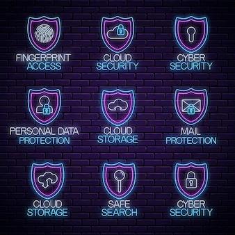グローネオンの安全な標識のセット。インターネット保護技術の光るシンボルコレクション。ベクトルイラスト。 webセキュリティ、データ保護、ネットワーク安全のエンブレム。