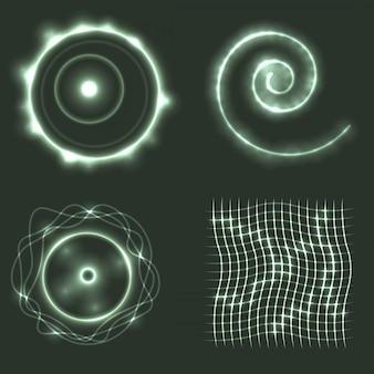 光る幾何学的形状のベクトル図のセット