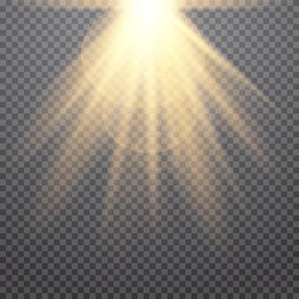 반짝임과 빛나는 빛 별의 집합입니다. 황금 조명 효과.
