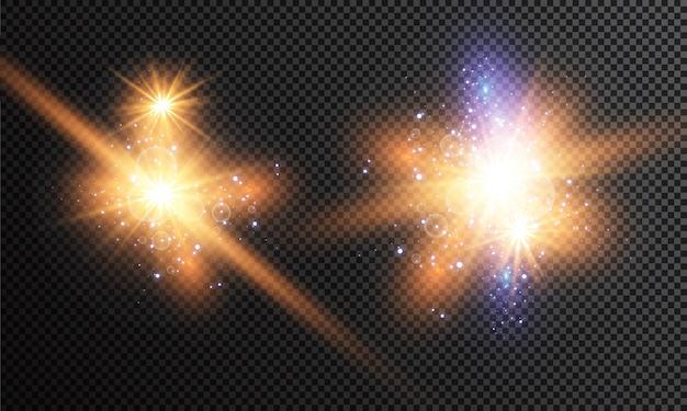 Набор светящихся светлых звезд с блестками. световой эффект. .