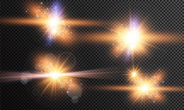 Набор светящихся светлых звезд с блестками