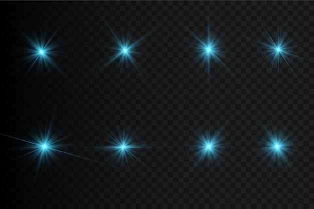 輝く光と星のセット