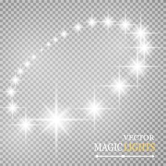 分離された光るライト効果のセット。太陽が光線で点滅します。星がきらめきます。