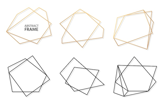 金と黒の抽象的な多角形の幾何学的なフレームのセット。テキストの空のテンプレート。豪華な装飾的なモダンな多面体フレーム。