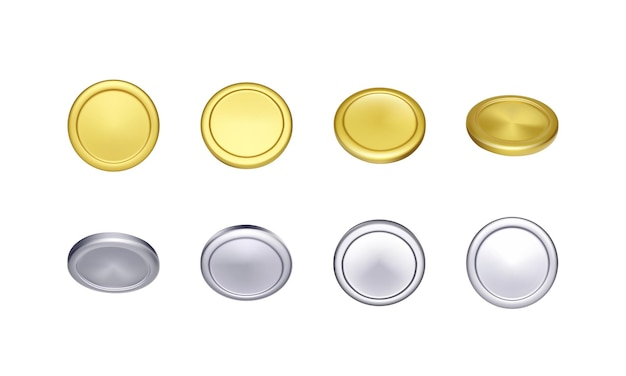 Набор золотых и серебряных монет. металлические деньги вращения. векторная иллюстрация