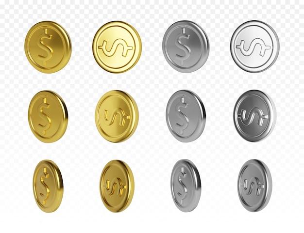 Набор золотых и серебряных монет с символом доллара. визуализация вращения металлических денег. векторная иллюстрация