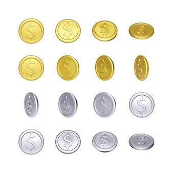 Набор золотых и серебряных монет с символом доллара. металлические деньги вращения. векторная иллюстрация