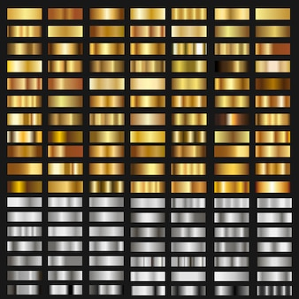 Set of gold and silver gradient textures