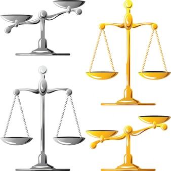 Набор золотых и серебряных весов правосудия