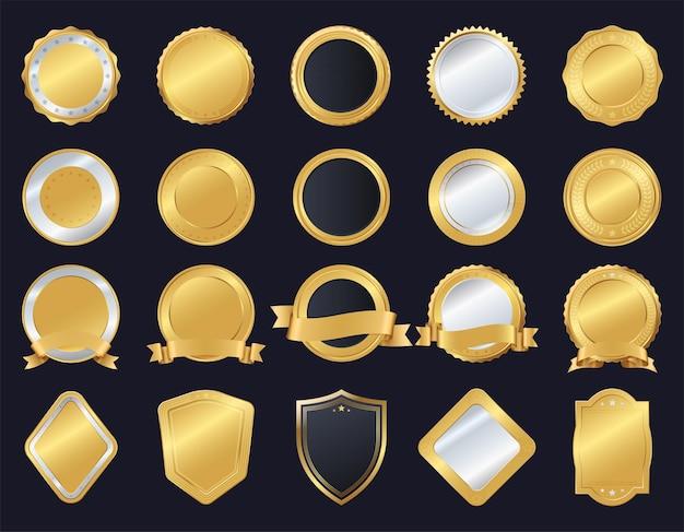 金と銀のシールのセット、さまざまな形。品質マーク、メダル。ベクトルイラスト