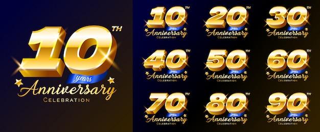 Комплект номеров торжества годовщины золота, логотипа, эмблемы, шаблона для плаката, знамени, иллюстрации.