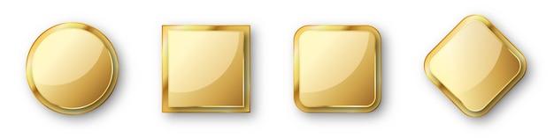 ゴールドバッジのセットです。光沢のあるフレームまたは影付きのバッジ。分離された空のゴールドプレート。