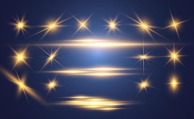 ゴールドの明るい美しい星のセット光の効果明るい星イラストのための美しい光