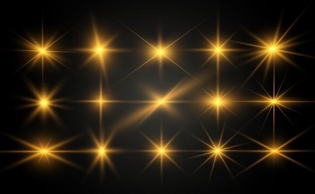 골드 밝은 아름다운 별 집합입니다. 조명 효과 밝은 별.