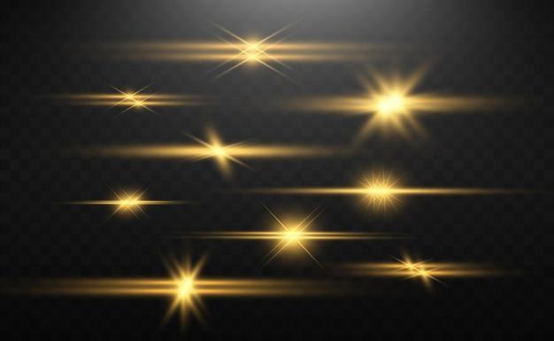 Набор золотых ярких красивых звезд