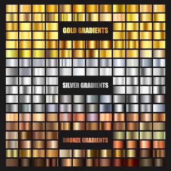 ゴールド、ブロンズ、シルバーのグラデーションの背景のセットです。ボーダー、フレーム、リボン、ラベルデザインの黄金と金属のグラデーションコレクション。色見本。金箔質感グラデーション。