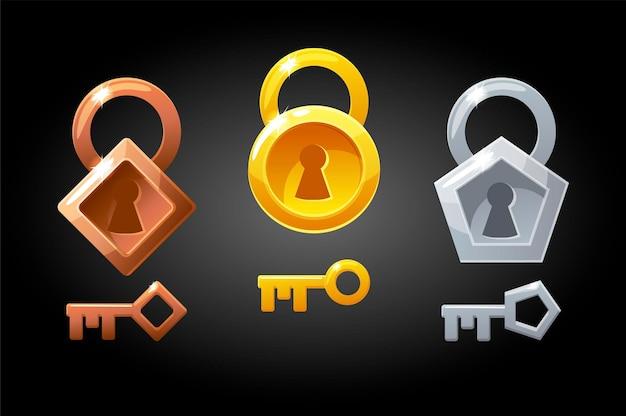 금, 청동 및 은색 열쇠와 자물쇠 세트. 게임에 대한 자물쇠 모음.