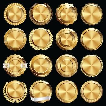 ゴールド証明書のシールとバッジのセット