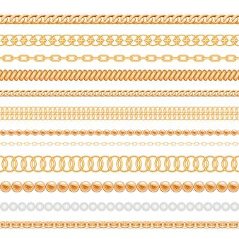 金の鎖と白で隔離されるロープのセット