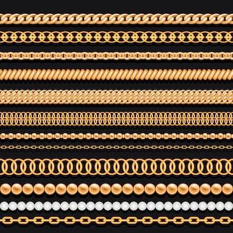 Набор золотых цепочек из бисера и канатов на черном