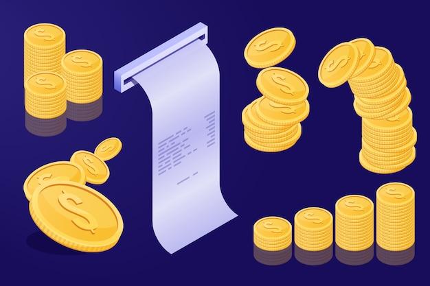 ゴールドコインと店の領収書のセット。