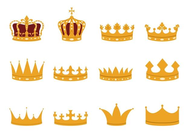 플랫 스타일의 골드 크라운 세트. 제국, 왕실, 왕자, 군주제, 공작 및 카운티 크라운.