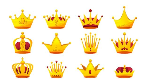 さまざまな形の金の王冠のセット