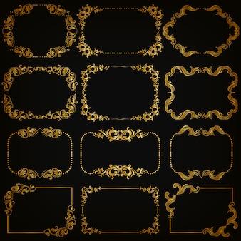Набор золотых декоративных орнаментальных бордюров и рамок
